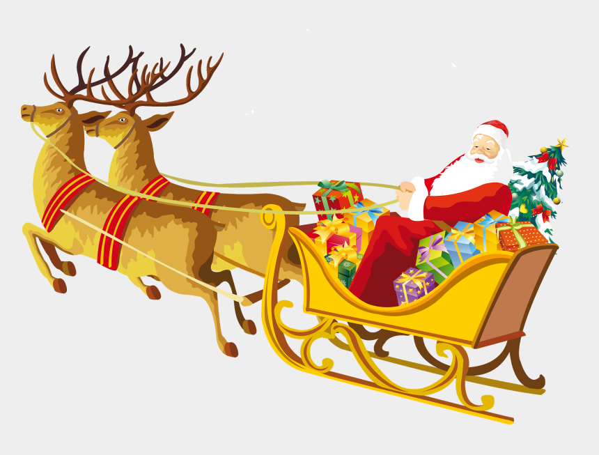 sledge clipart, Cartoons - Transparent Santa With Sleigh And Deer Clipart - Merry Christmas With Santa Claus