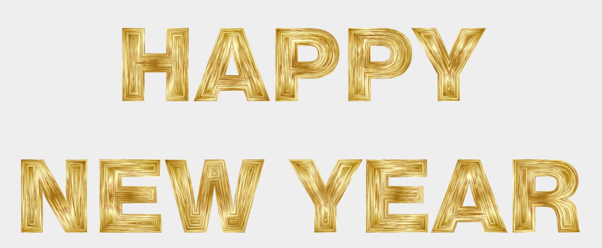 happy new year banner clipart, Cartoons - Happy New Year Gold Png