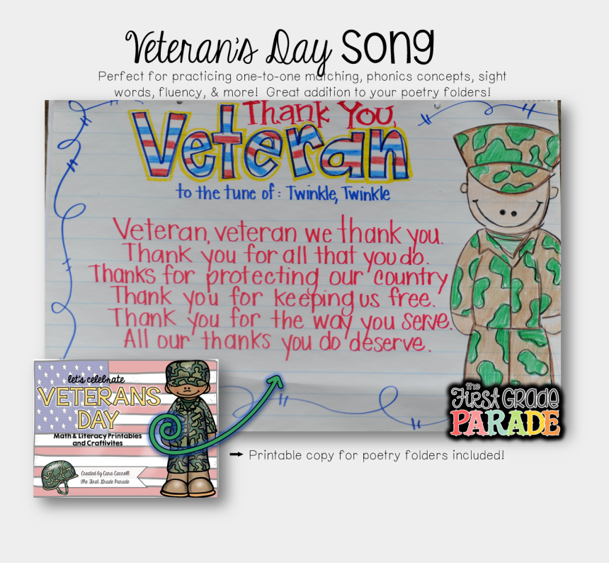 veterans day thank you clipart, Cartoons - I Love Adding Poetry And Music To Every Theme/unit - Veteran Anchor Chart Kindergarten