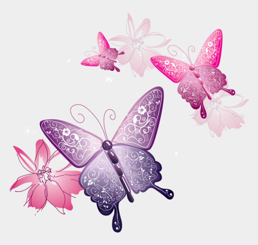spring flowers clipart, Cartoons - Spring Flowers And Butterflies Border Download - Pink Butterflies Png