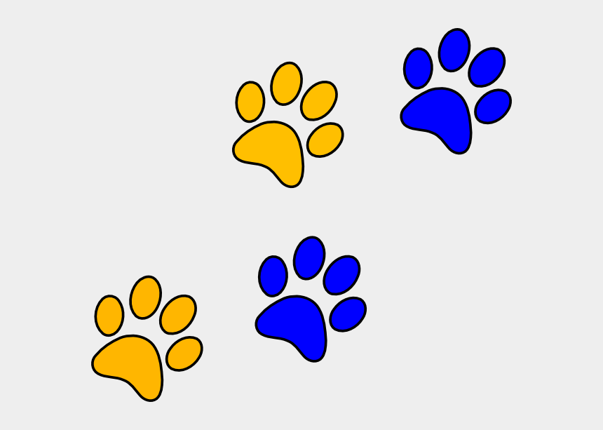 paw print clipart, Cartoons - Blue And Yellow Paw Prints