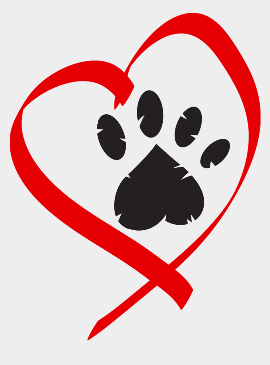 paw print clipart, Cartoons - Heart Paw Print Clip Art - Paw Print Heart Png