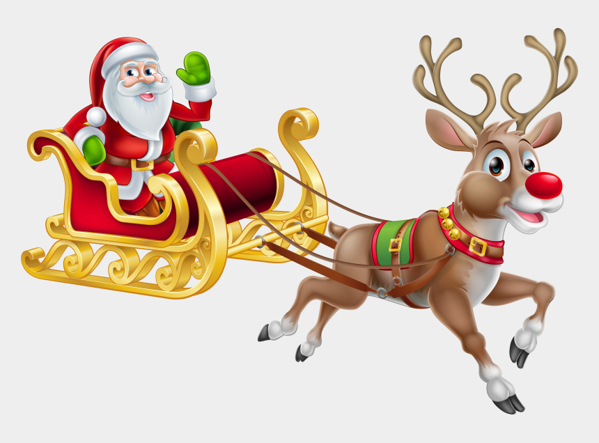 santa clip art, Cartoons - Father Christmas On A Sleigh