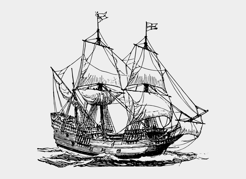 ship clip art, Cartoons - Carrack Ship Clip Art Free Svg Vector - Pirate Ship Black And White