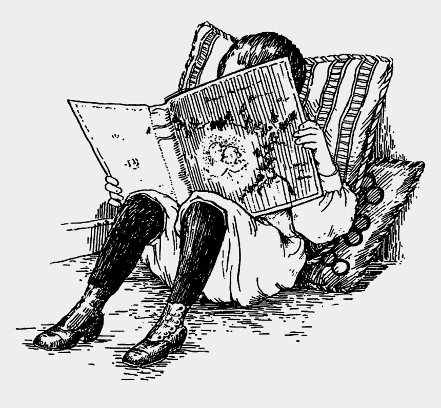 children reading clipart, Cartoons - Boy Reading Book Antique Illustration Download - Child Reading Illustration