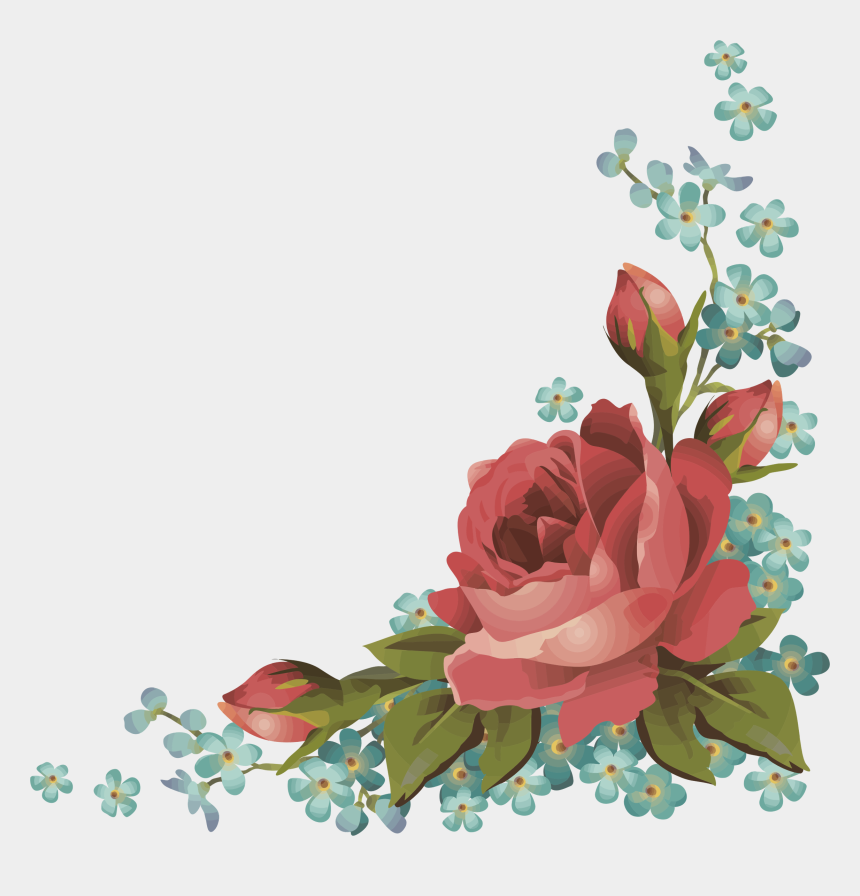 forget me not clipart, Cartoons - Bouquet Rose Forget Me Not Vintage - Rose Corner Flower Border