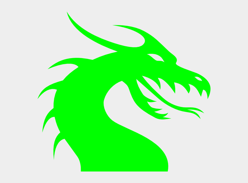dragons clipart, Cartoons - Neon Green Dragon Head