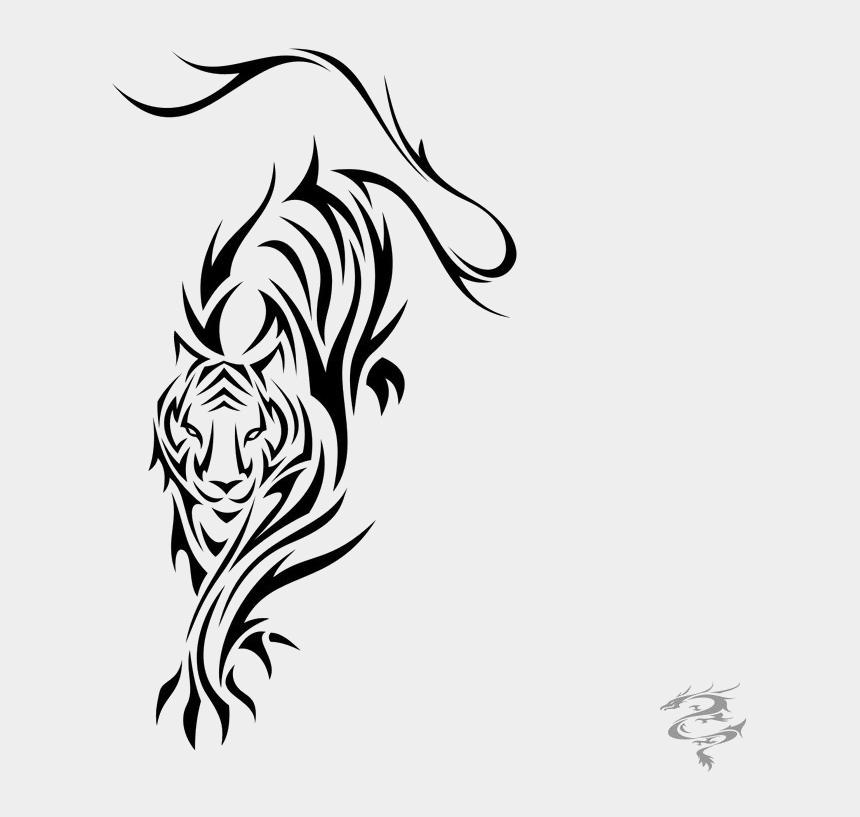 tiger face clipart black and white, Cartoons - Tiger Tattoos Png Clipart - Tatuajes De Tigres Tribales