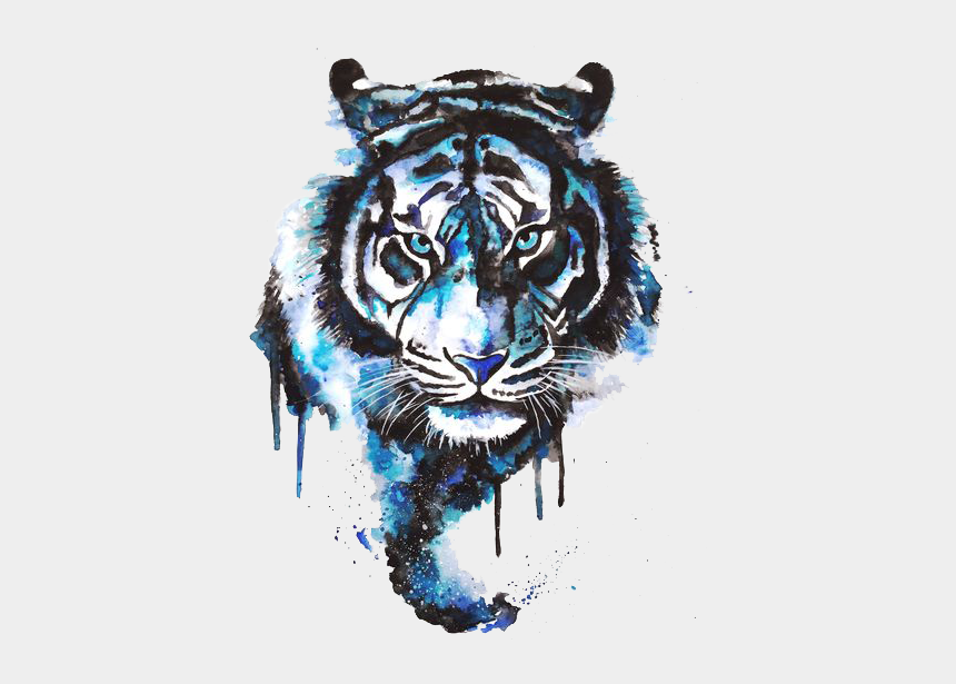 tiger face clipart black and white, Cartoons - Tattoo Art Watercolor Tiger Painting Drawing - Watercolour Tiger Tattoo
