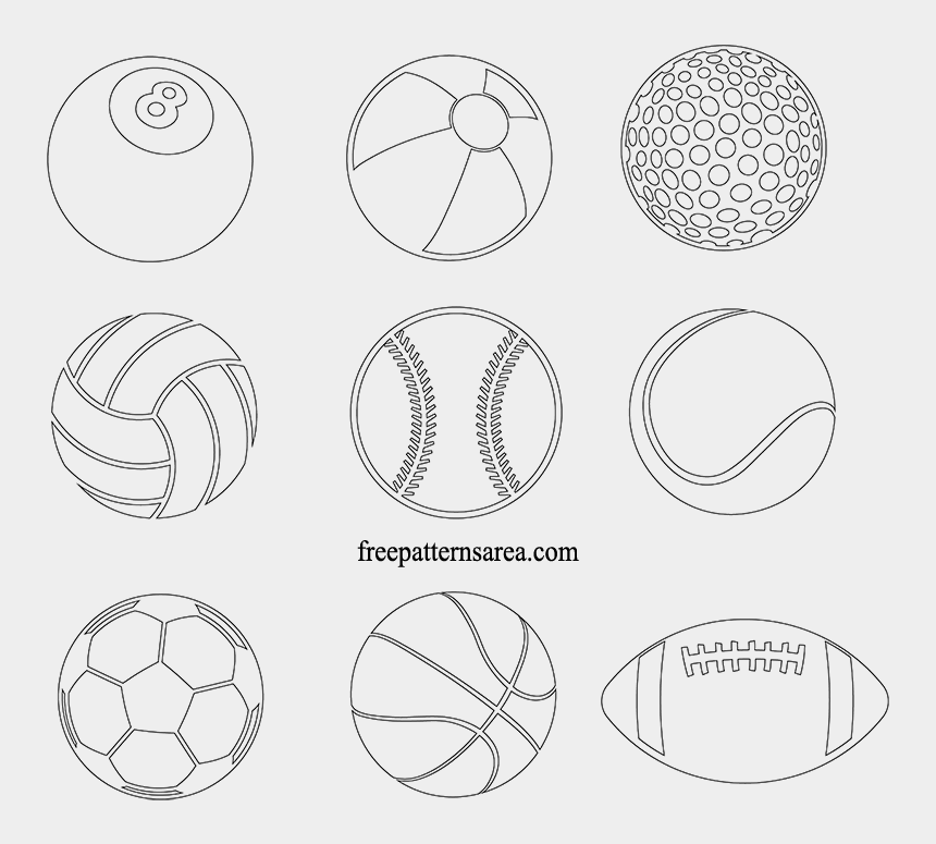 sports balls clipart black and white, Cartoons - Printable Sports Ball Pdf Template - Sports Ball Printables
