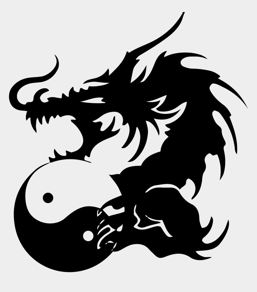 chinese dragons clipart, Cartoons - Tribal Dragon Png - Dragons Yin Yang Tattoos