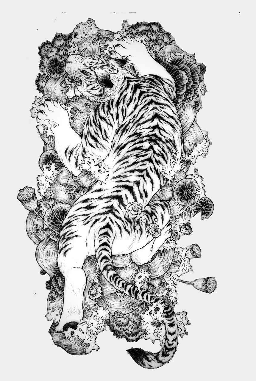 chinese dragons clipart, Cartoons - Tattoo Chinese Dragon Tiger China White - Traditional Japanese Tattoo Drawing