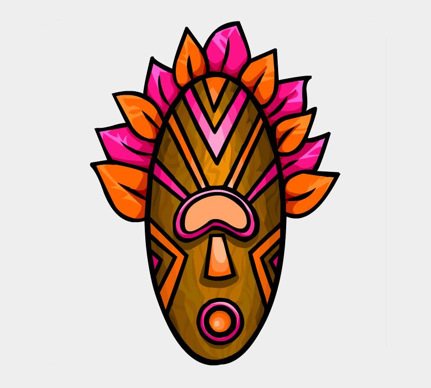 Pink Tiki Mask - Hawaiian Tiki Faces Clipart, Cliparts