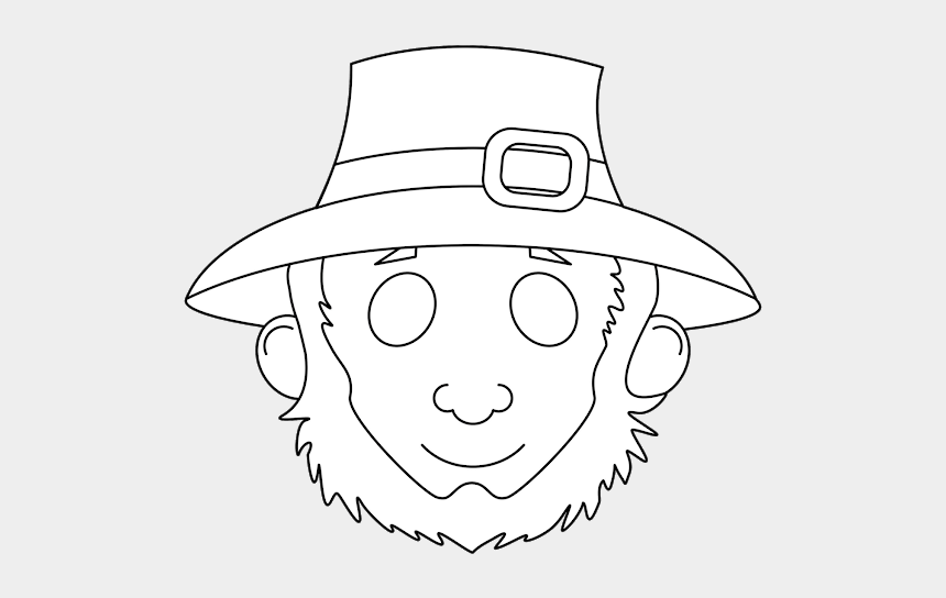 """leprechaun hat clipart black and white, Cartoons - Cut A Slit In Front And Glue A Backing To Make A """"house"""" - St Patty's Mask Printable"""