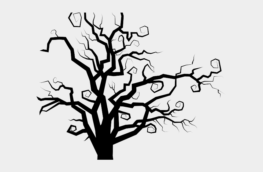 swirly clipart, Cartoons - Branch Clipart Swirly Tree - Spooky Tree Silhouette Png
