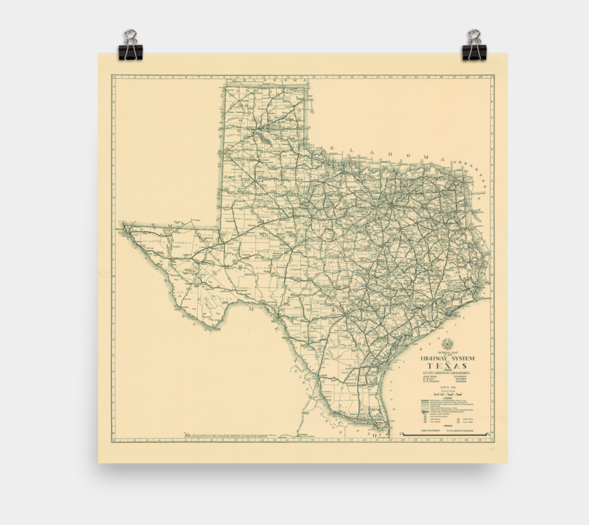 state of texas clipart, Cartoons - 1933 Texas State Highway Map - Map Of Texas