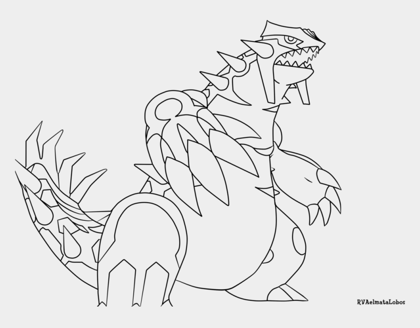 pokemon clipart black and white, Cartoons - Groudon Pages Primal Sketch Page Ⓒ - Pokemon Primal Groudon Coloring Pages