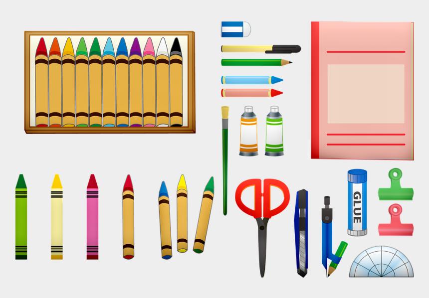 school supply clipart, Cartoons - School Supplies Crayons Scissors School Color - Utiles Escolares De Colores