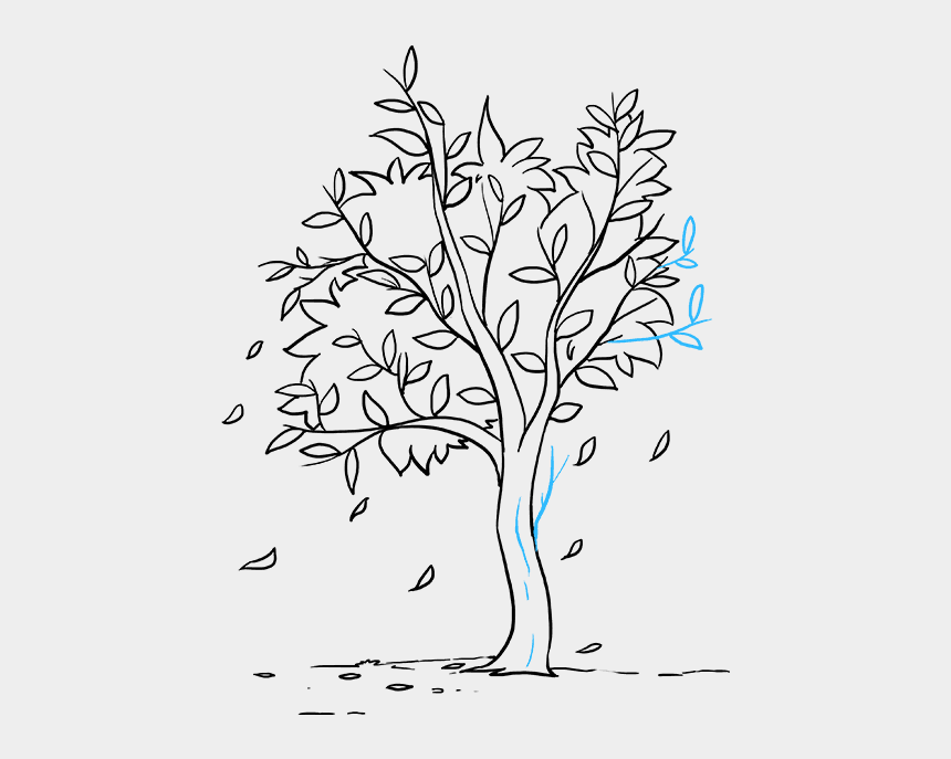 tree branch clipart black and white, Cartoons - Drawing Branches Easy - Easy Tree Drawing With Leaves