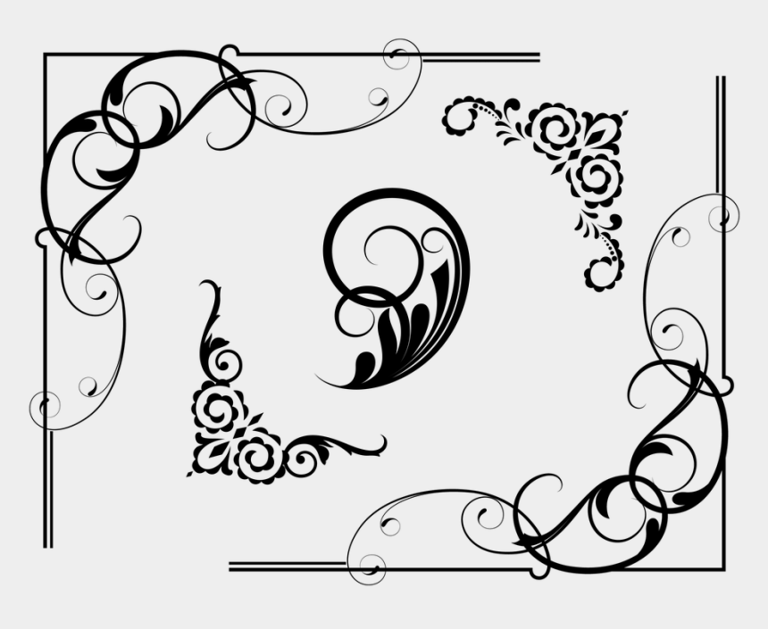 flower border clipart black and white, Cartoons - Border, Frame, Flowers, Floral - Powerpoint Border Png