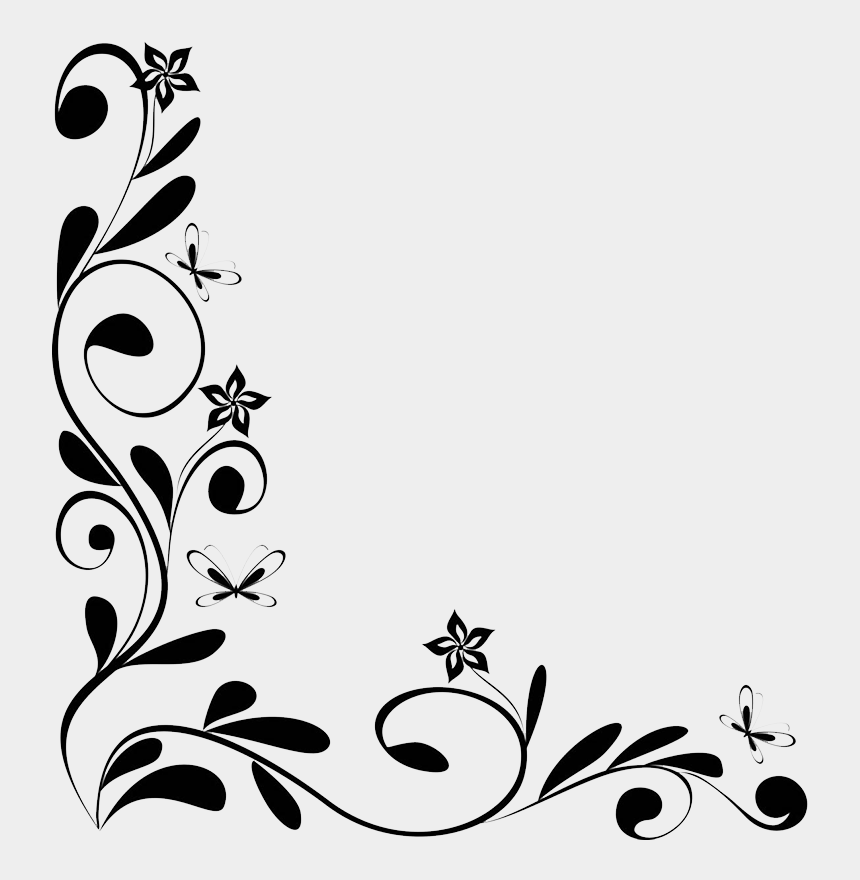 flower border clipart black and white, Cartoons - Flower Borders And Frames Clipart - Flowers Border Design Black And White