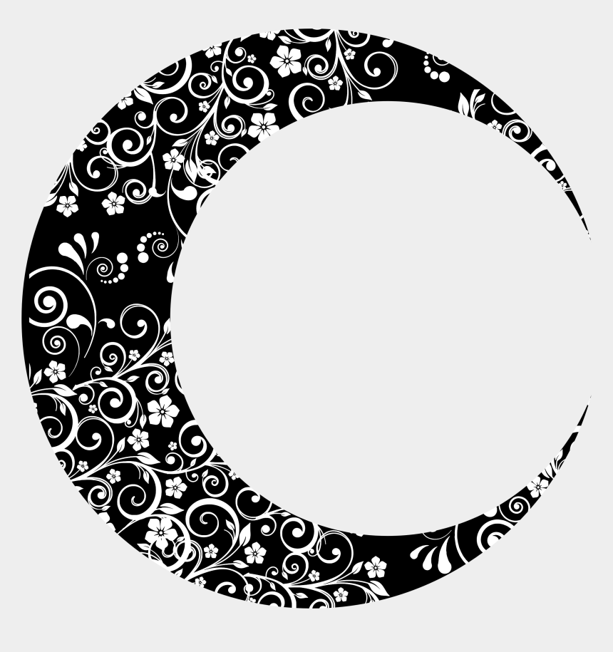 moonclipart, Cartoons - Moon Clipart Floral - Crescent Moon Design Png
