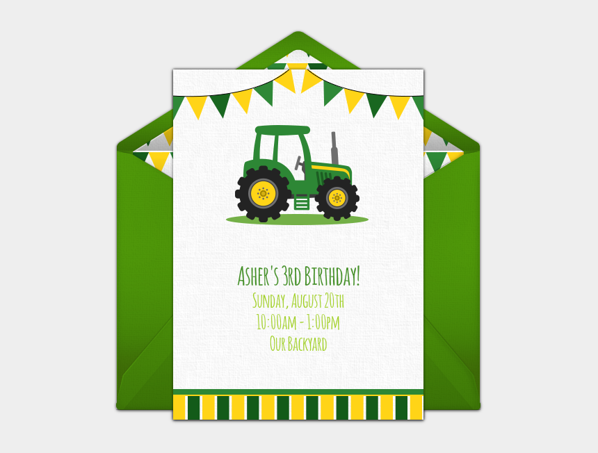 john deere tractors clipart, Cartoons - Free Birthday Party Invitation With A Tractor Design - Tractor Themed Birthday Invitations