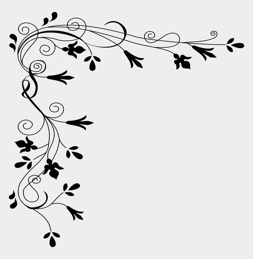 spotlight clipart black and white, Cartoons - Simple Floral Border Design