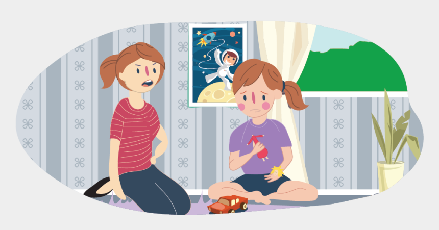 jealous clipart, Cartoons - Girl Holding Broken Toy With Adult Upset At Her - Child Talking To Adult Clipart