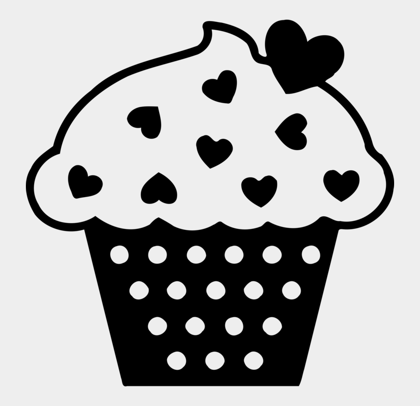 birthday cupcakes clipart, Cartoons - Vector Cupcakes Frosting - Black And White Baked Clipart