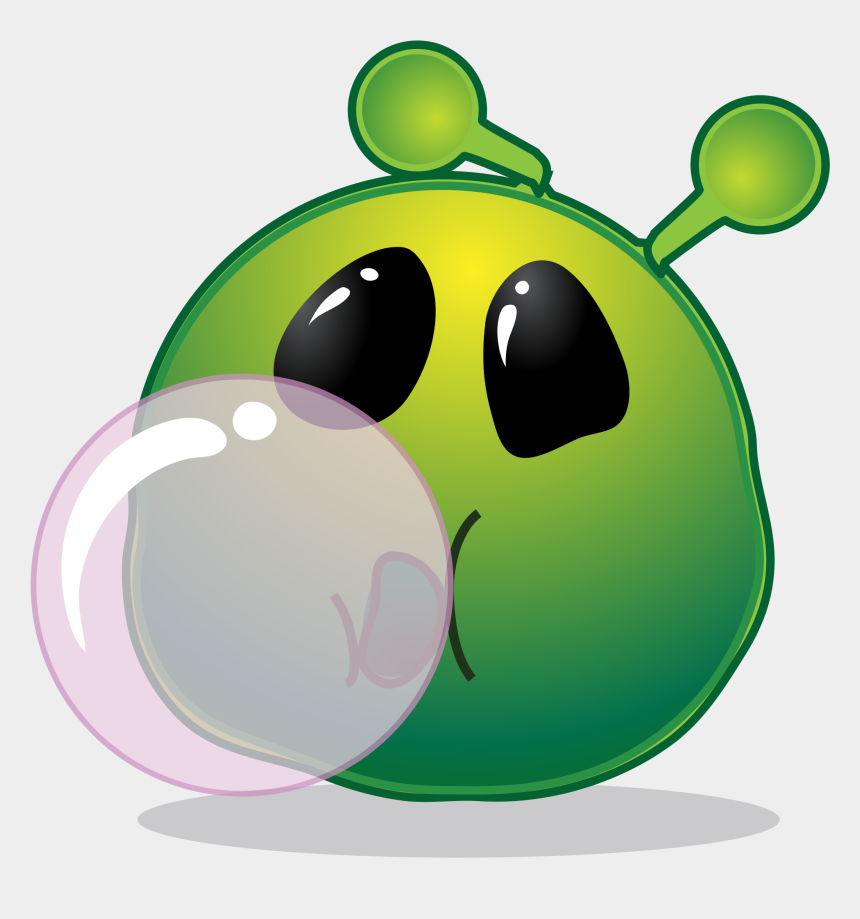 worry clipart, Cartoons - Smiley Green Alien Bubble - Gum Chewing Transparent Gif