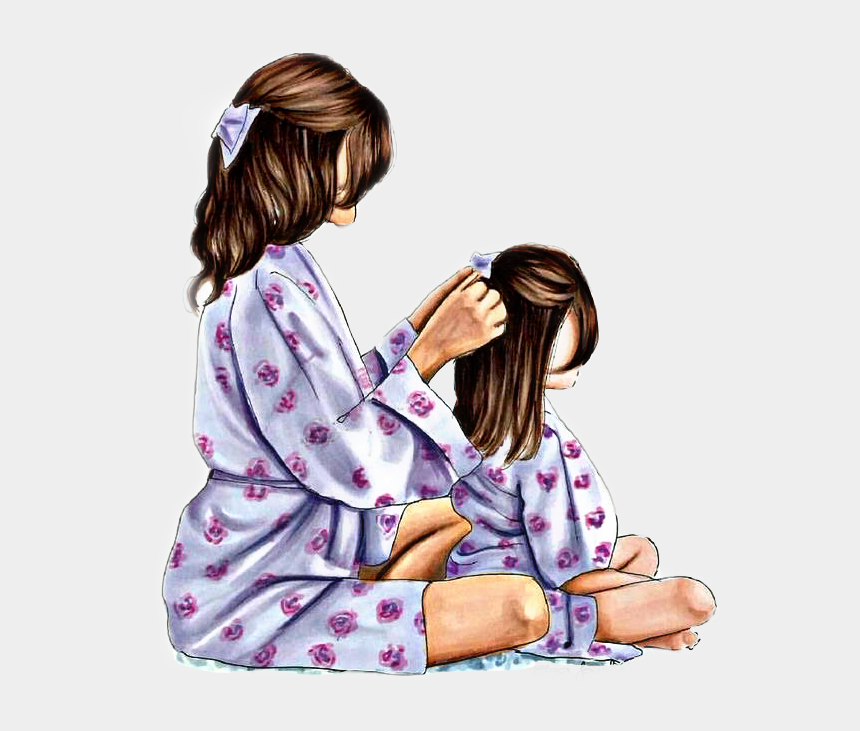 mom and daughter clipart, Cartoons - #remixit #mom #daughter #hair #time #love #pjs #robes - Cute Mommy And Daughter Drawing