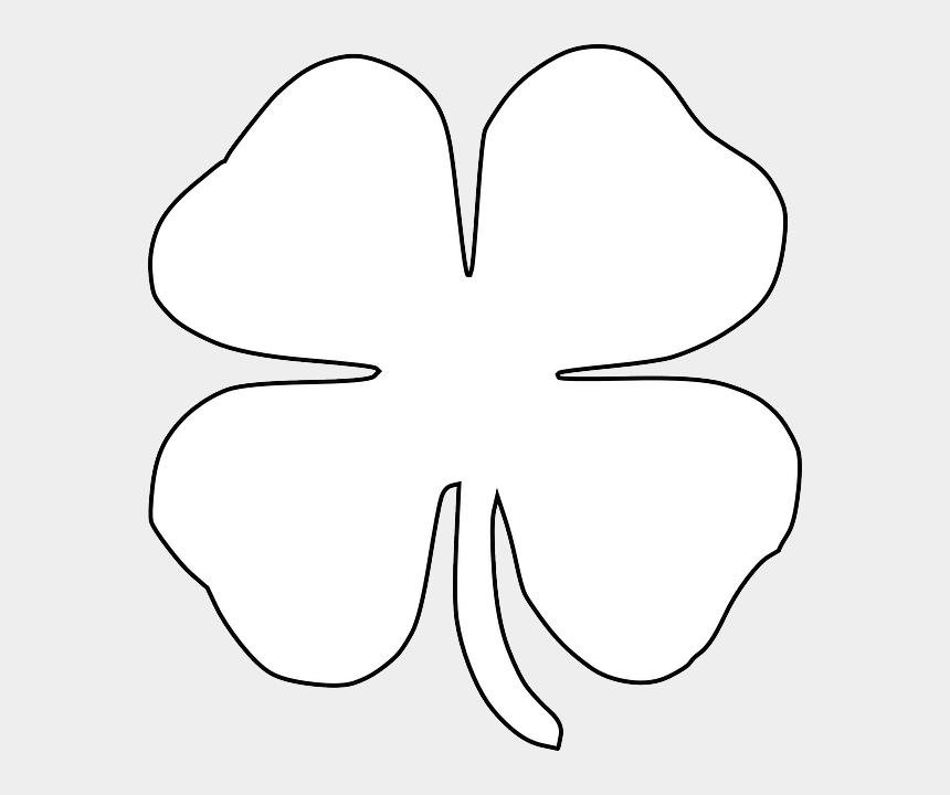 four leaf clover clipart black and white, Cartoons - Shamrock Outline Clip Art Free St Patrick S Day Printables - Four Leaf Clover Clipart Black And White