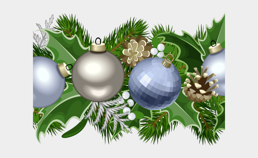 holly garland clipart, Cartoons - Garland Clipart Green Garland - Blue Christmas Decorations Png