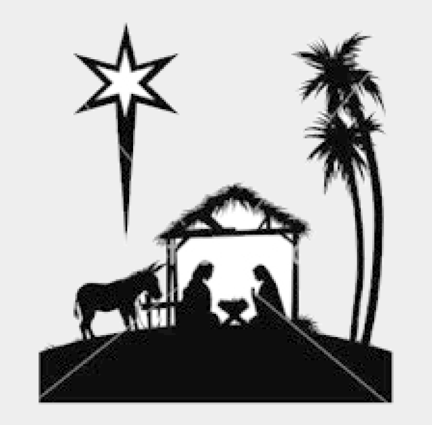 baby jesus in a manger clipart, Cartoons - Nativity Black And White