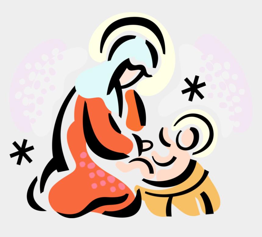 baby jesus in a manger clipart, Cartoons - Vector Illustration Of Christianity Madonna Mary Mother - Nos Ha Nacido El Salvador