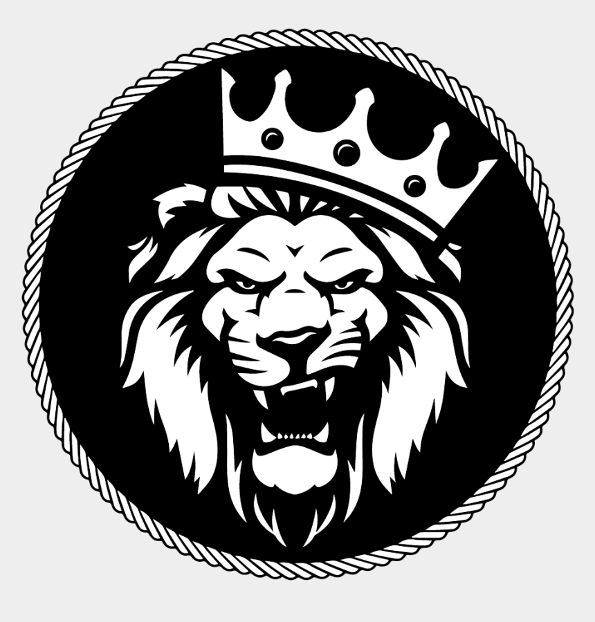 roaring lion clipart black and white, Cartoons - Roaring Lion With Crown Logo - Best Lion Logo Design
