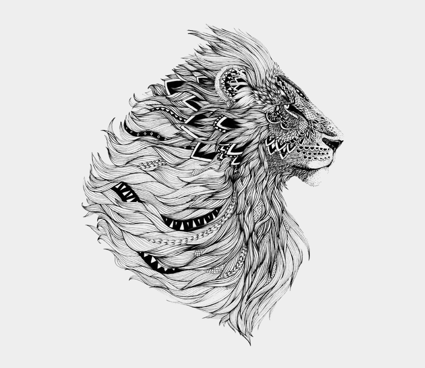 roaring lion clipart black and white, Cartoons - Tattoo Lion Flash Sleeve Free Download Image - Abstract Lion Art Black And White
