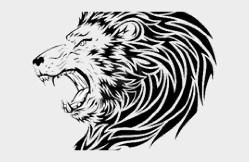 roaring lion clipart black and white, Cartoons - Tiger Roar Png - Tribal Lion Head Tattoo