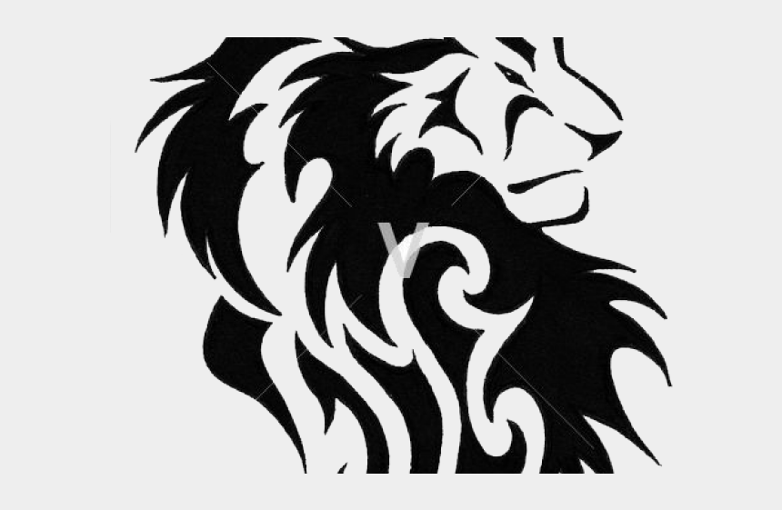 roaring lion clipart black and white, Cartoons - Lion Tattoo Clipart Transparent - Tribal Lion Drawing Tattoo