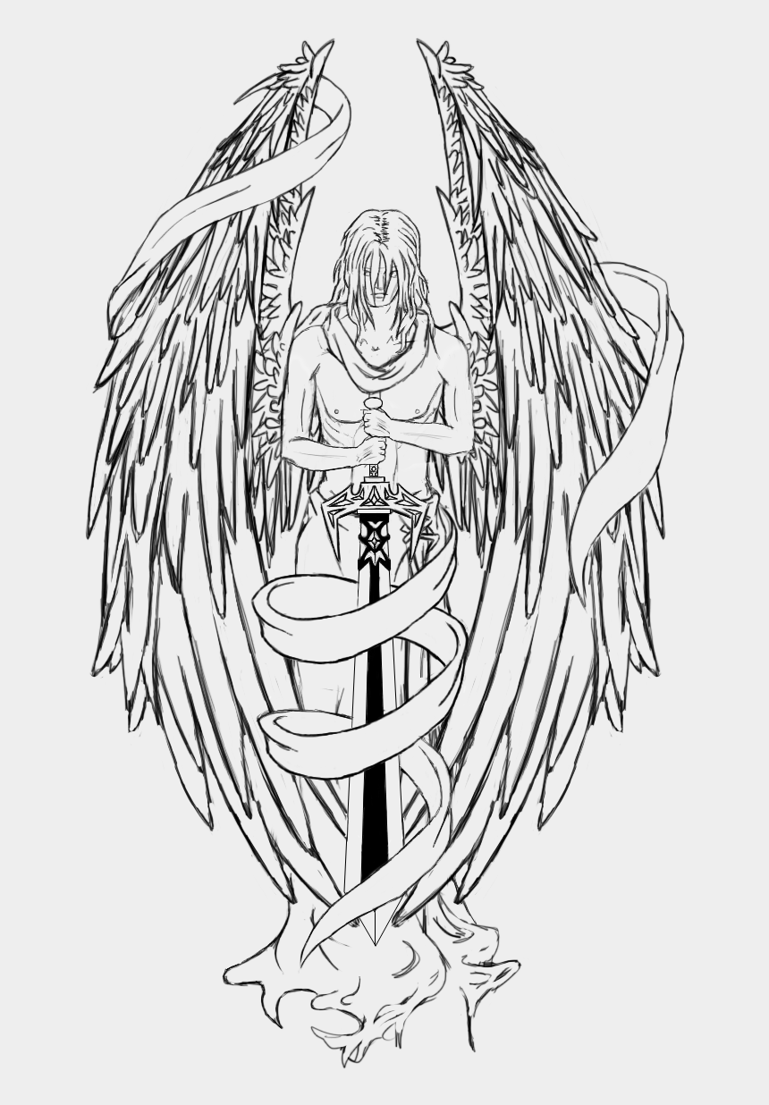 guardian angels clipart, Cartoons - Embroidery Drawing Guardian Angel - Angel Holding Sword Tattoo