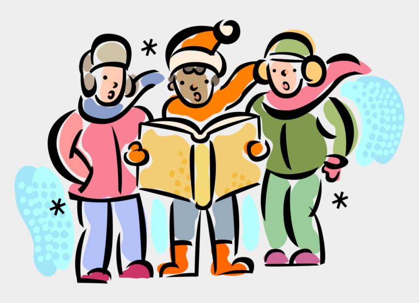 christmas caroling clipart, Cartoons - Vector Illustration Of Holiday Festive Season Christmas - Carols Around Christmas Tree