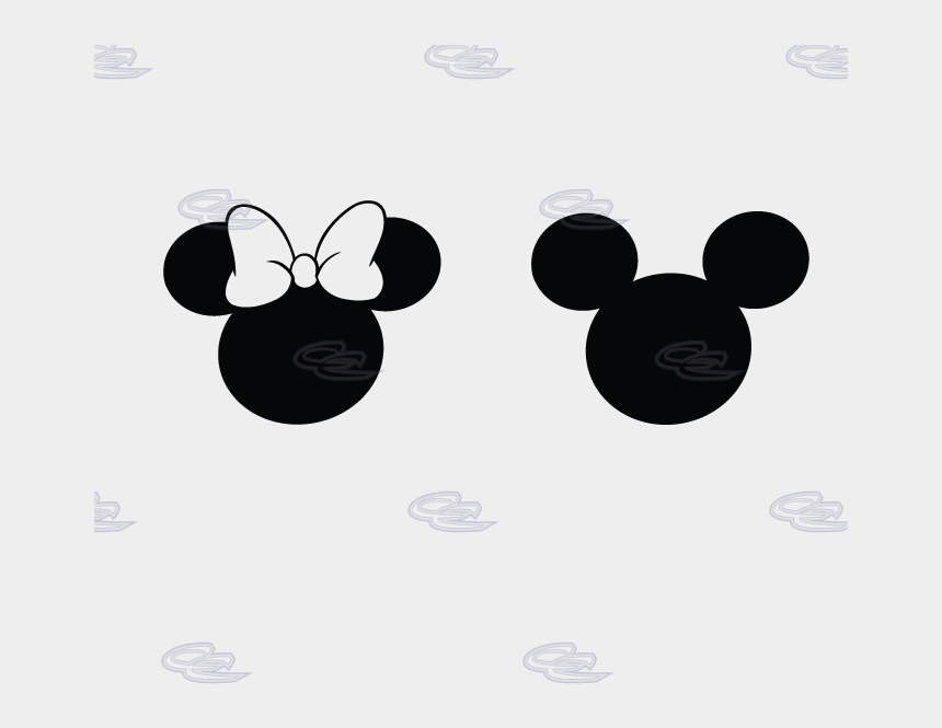 minnie mouse black and white clipart, Cartoons - Mickey And Minnie Mouse Heads Silhouette