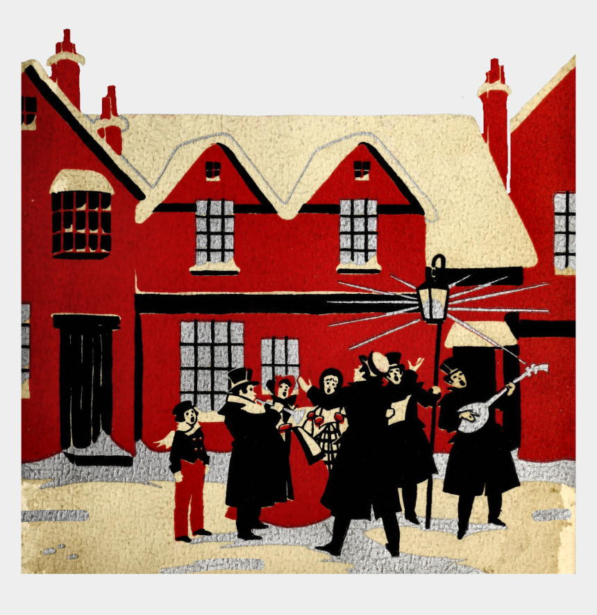christmas caroling clipart, Cartoons - Vintage Christmas Carolers Graphic - House