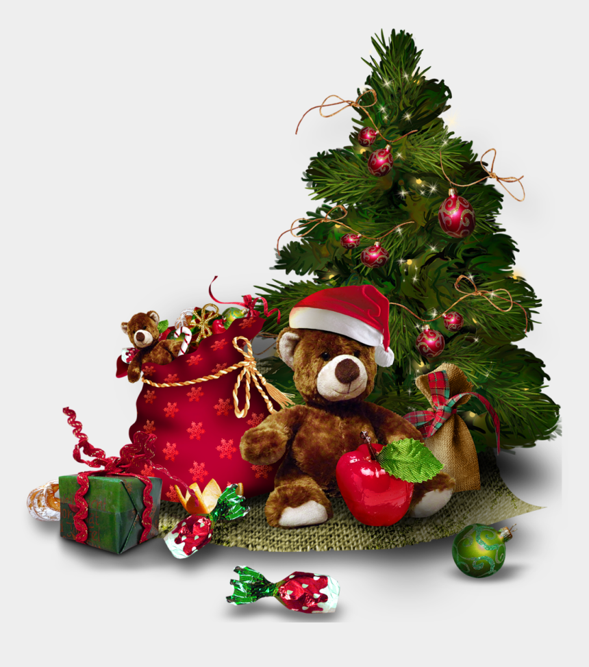 angel tree clipart, Cartoons - Transparent Christmas Tree With Teddy - Merry Christmas Tree Png