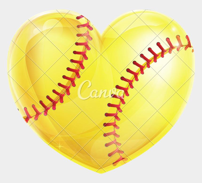 softball heart clipart, Cartoons - Transparent Softball Heart - Heart Shaped Softball