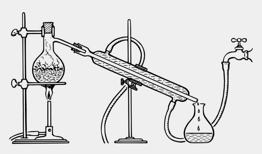 chemistry clipart black and white, Cartoons - Fractional Distillation Separation Process Distilled - Distillation Of Water