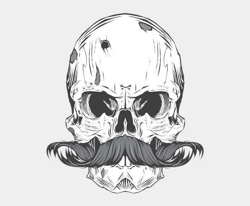 moustache clip art, Cartoons - Tattoo Bearded Skull Calavera Finger Moustache Clipart - Caveira Mexicana Com Bigode