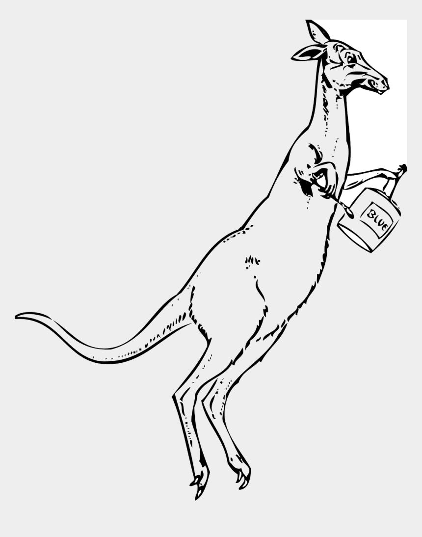 kangaroo clip art, Cartoons - Australia Hop Paint Can Blue Marsupial Pain Ⓒ - Clipart Black And White Jumping Kangaroo