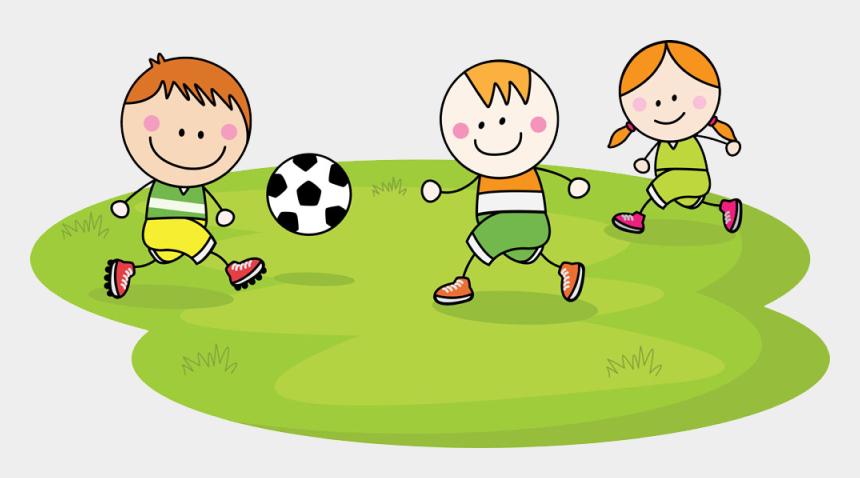 kids playing clip art, Cartoons - Children Playing Football Clipart - Cartoon Children Playing Football